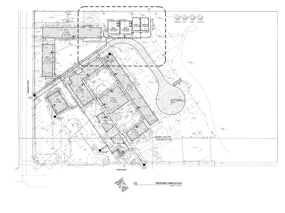 This map shows the layout of the proposed portable structures at Loma Vista Elementary School.