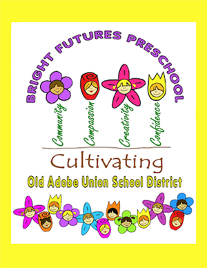 The Logo of Bright Futures Preschool. Growing Flowers of Community, Compassion, Creativity, and Confidence.
