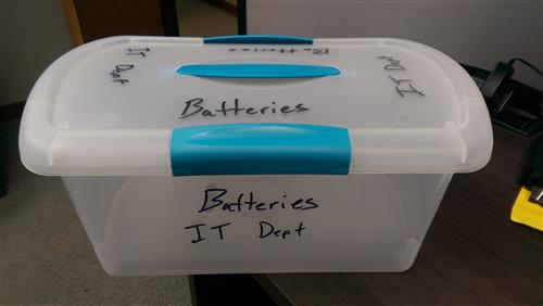 IT Department Battery Bins for Recycling Batteries
